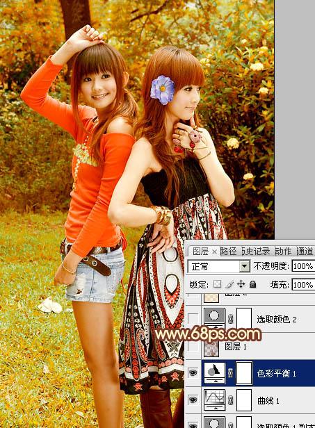 Photoshop把外景美女照片调成艳丽橙褐色10