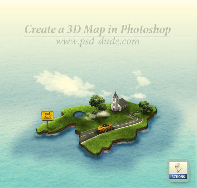 Photoshop绘制逼真的绿色地图1