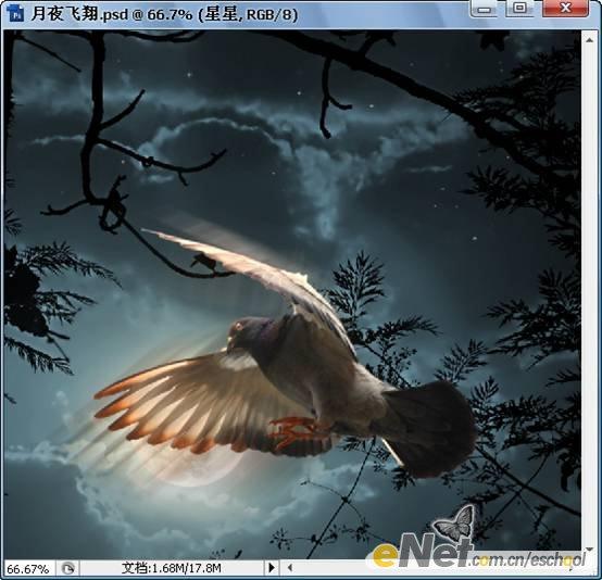 Photoshop创意合成月夜飞翔案例25