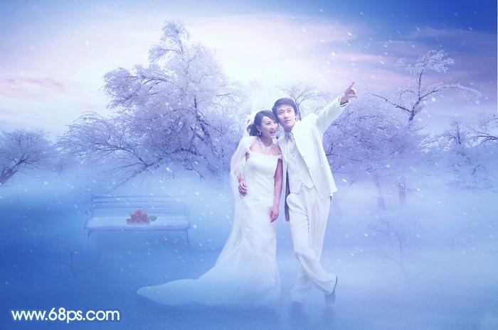 Photoshop合成冬季唯美雪景浪漫婚片1