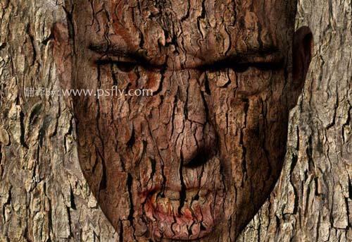 Photoshop合成科幻片中的树人魔怪8