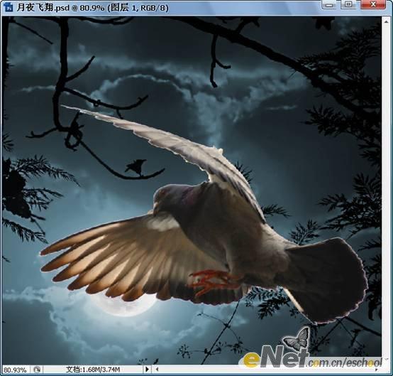 Photoshop创意合成月夜飞翔案例11