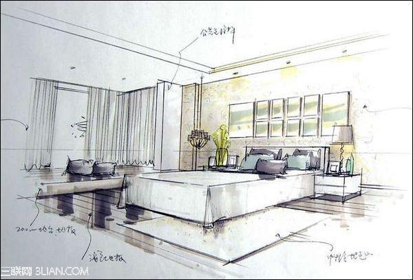 室内设计手绘线稿图——卧室线稿