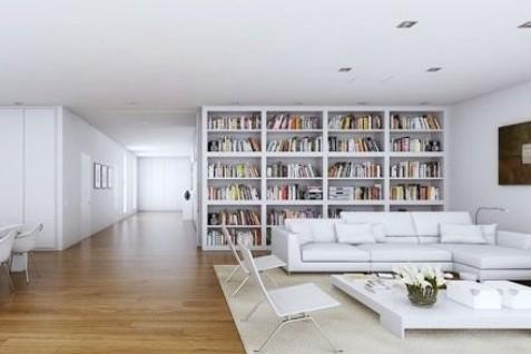 转角书柜效果图:客厅空间虽然不小