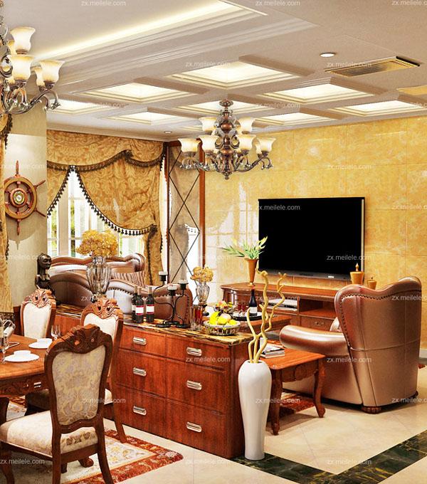 客厅装修效果图案例,打造贵气美式风格2