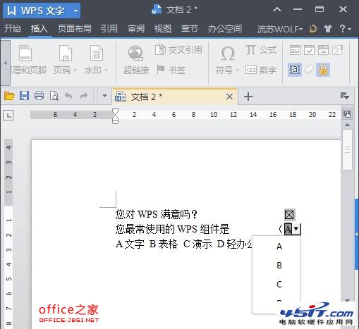 在WPS文字中做下拉选项框的方法5