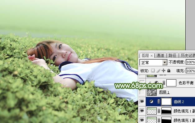 Photoshop给草地上的美女加上唯美的春季粉绿色25