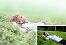 Photoshop给草地上的美女加上唯美的春季粉绿色1