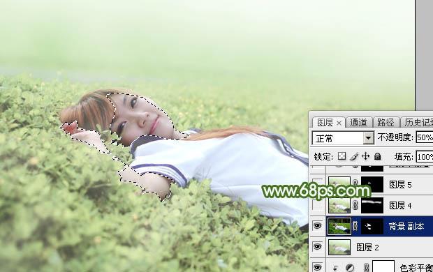 Photoshop给草地上的美女加上唯美的春季粉绿色31