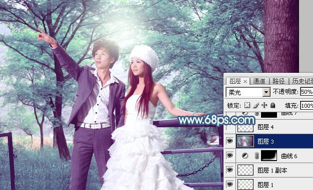 Photoshop打造唯美的青蓝色树林婚片39