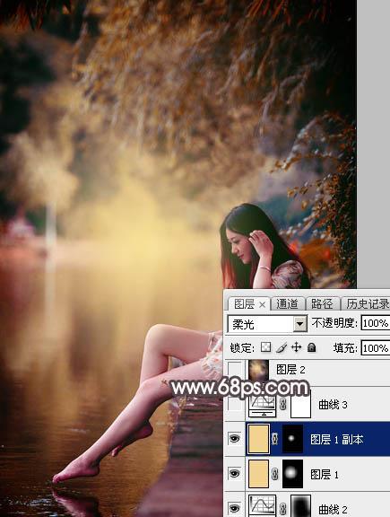 Photoshop给水边的美女加上暗调红褐色25