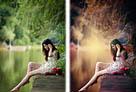 Photoshop给水边的美女加上暗调红褐色1