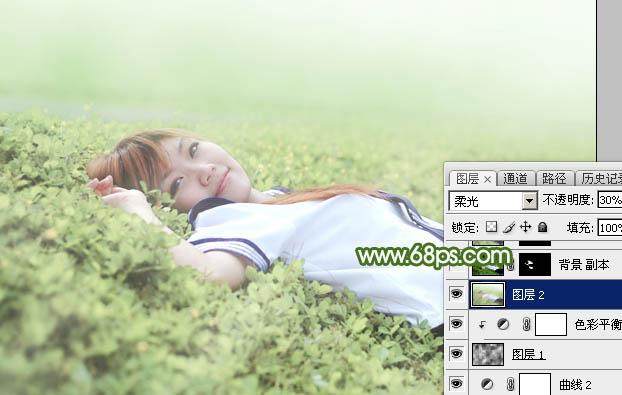 Photoshop给草地上的美女加上唯美的春季粉绿色30