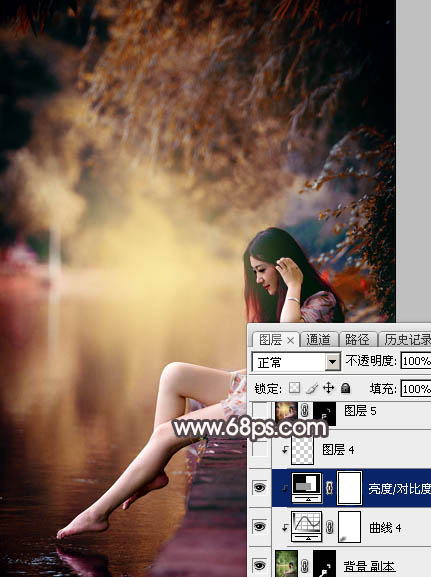 Photoshop给水边的美女加上暗调红褐色36