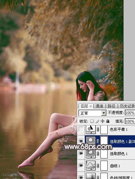 Photoshop给水边的美女加上暗调红褐色14