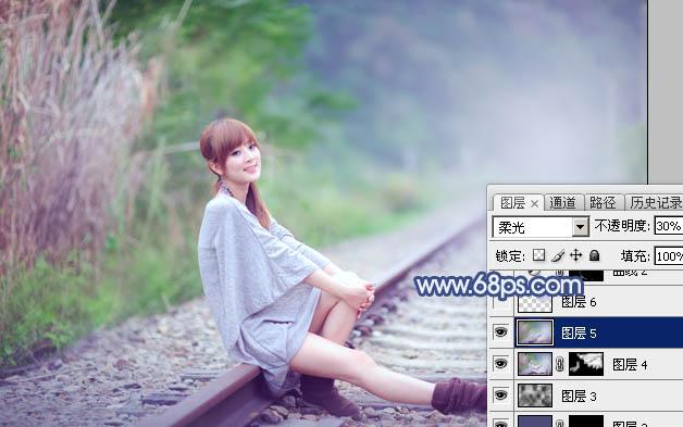 Photoshop打造清爽的韩系蓝绿色春季外景人物图片27