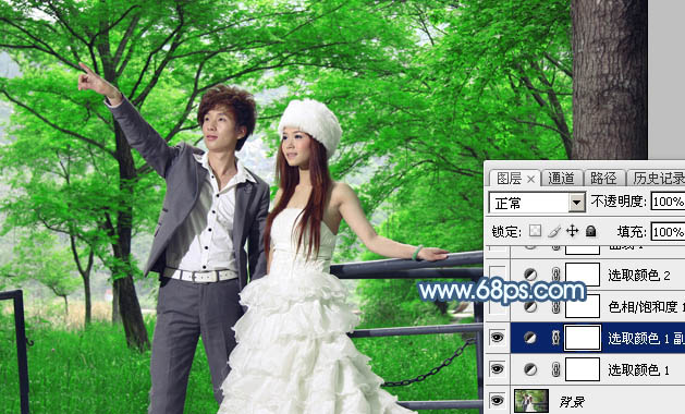 Photoshop打造唯美的青蓝色树林婚片7