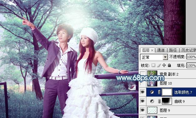Photoshop打造唯美的青蓝色树林婚片44