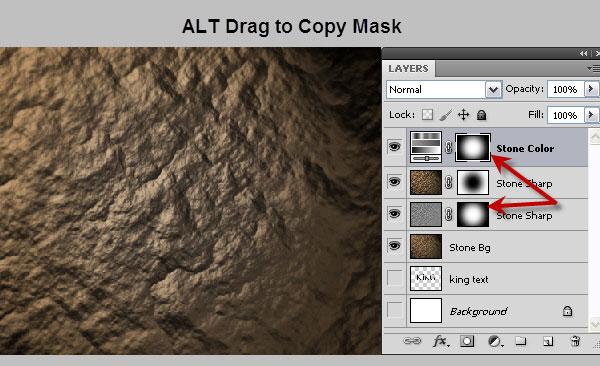 利用滤镜及图层样式制作超酷的褐色岩石字26