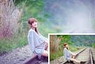 Photoshop打造清爽的韩系蓝绿色春季外景人物图片1