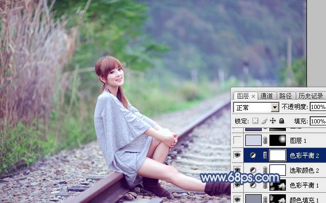 Photoshop打造清爽的韩系蓝绿色春季外景人物图片22