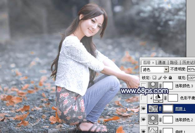 Photoshop把夏季图片转为古典淡蓝色冬季图片22