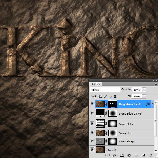 利用滤镜及图层样式制作超酷的褐色岩石字37