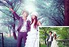 Photoshop打造唯美的青蓝色树林婚片1