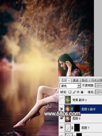 Photoshop给水边的美女加上暗调红褐色39