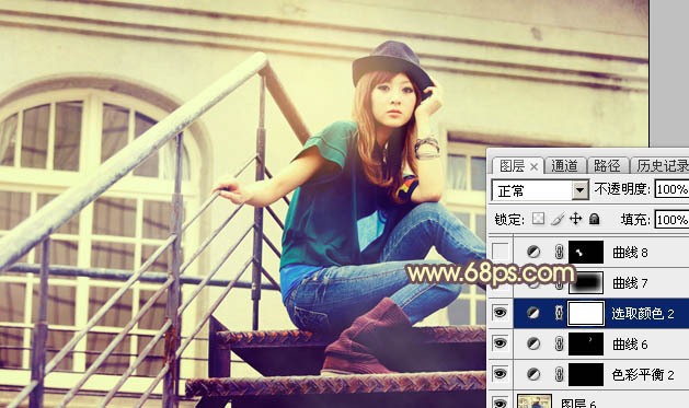 Photoshop打造古典Lomo风格建筑美女图片32