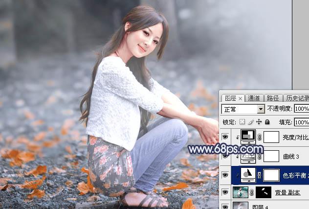 Photoshop把夏季图片转为古典淡蓝色冬季图片37