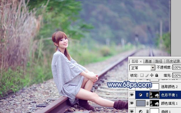 Photoshop打造清爽的韩系蓝绿色春季外景人物图片14
