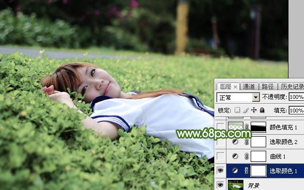 Photoshop给草地上的美女加上唯美的春季粉绿色6