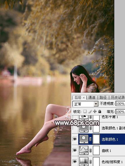 Photoshop给水边的美女加上暗调红褐色13
