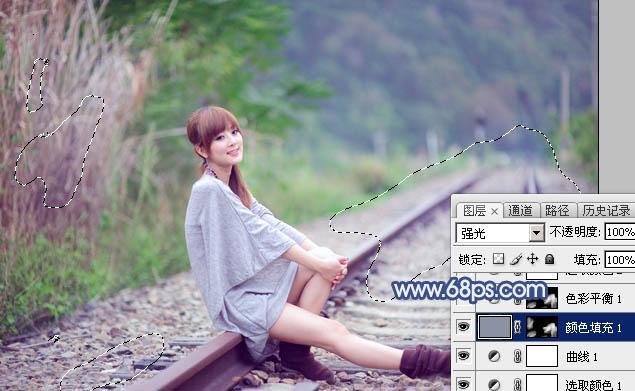 Photoshop打造清爽的韩系蓝绿色春季外景人物图片12
