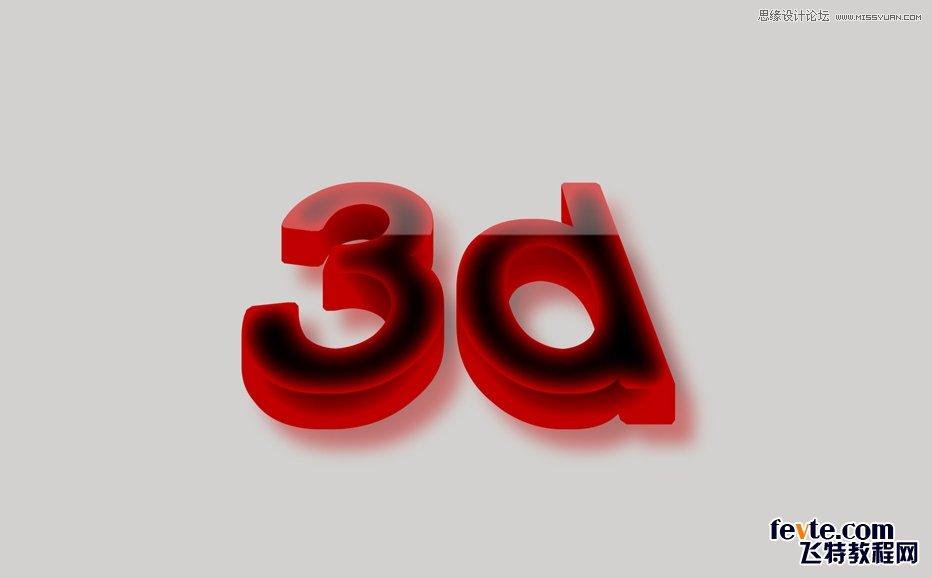 Photoshop制作3D效果的暗红色艺术字1