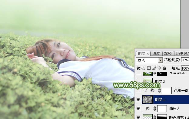 Photoshop给草地上的美女加上唯美的春季粉绿色26