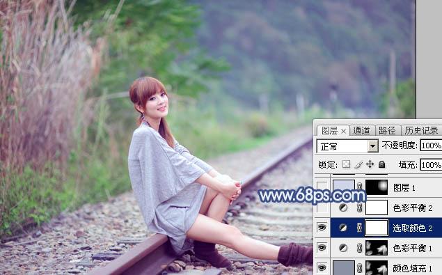 Photoshop打造清爽的韩系蓝绿色春季外景人物图片19