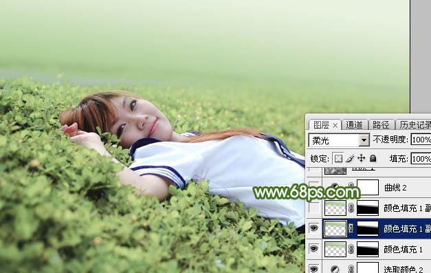 Photoshop给草地上的美女加上唯美的春季粉绿色19