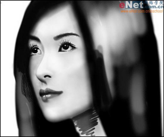 Photoshop cs5鼠绘水墨画美女头像照片的图文教程10