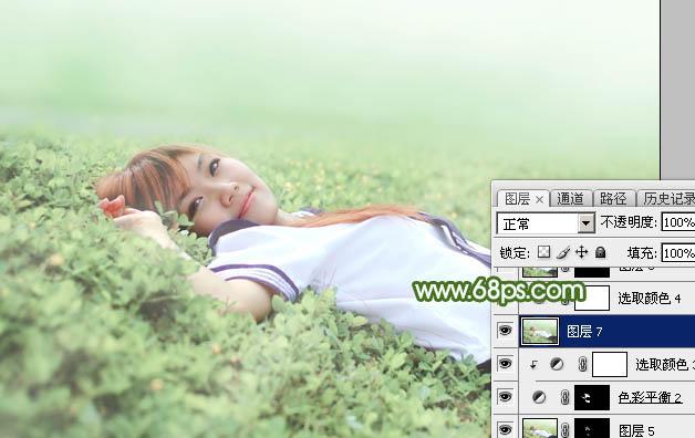 Photoshop给草地上的美女加上唯美的春季粉绿色37