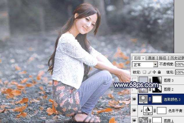Photoshop把夏季图片转为古典淡蓝色冬季图片30