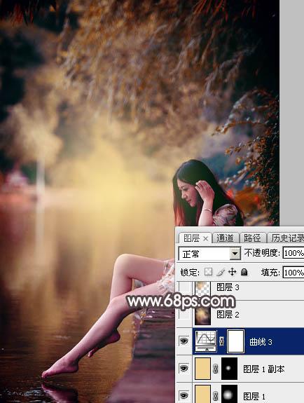 Photoshop给水边的美女加上暗调红褐色29