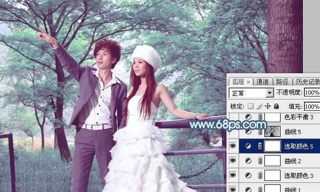Photoshop打造唯美的青蓝色树林婚片33