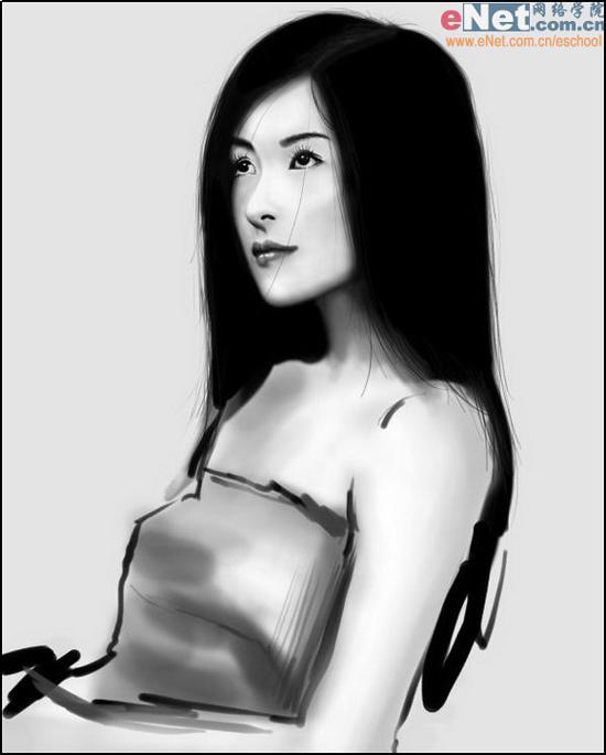 Photoshop cs5鼠绘水墨画美女头像照片的图文教程12
