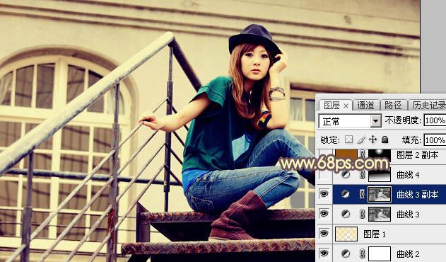 Photoshop打造古典Lomo风格建筑美女图片19