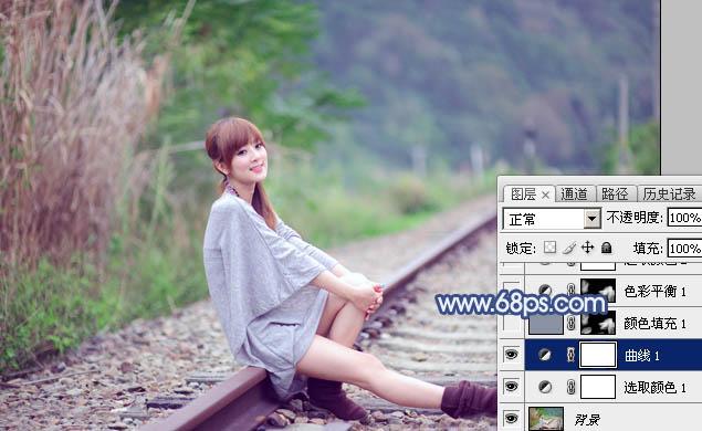 Photoshop打造清爽的韩系蓝绿色春季外景人物图片11