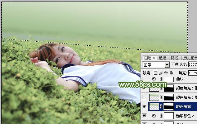 Photoshop给草地上的美女加上唯美的春季粉绿色17