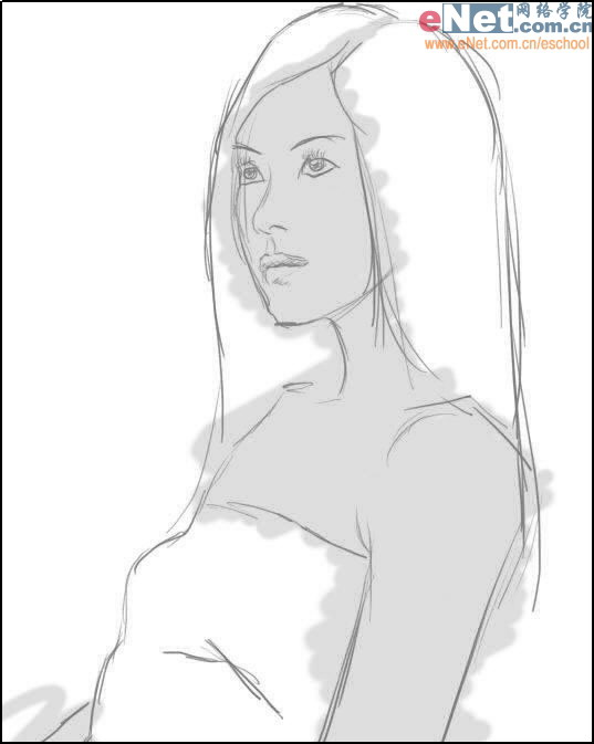Photoshop cs5鼠绘水墨画美女头像照片的图文教程4