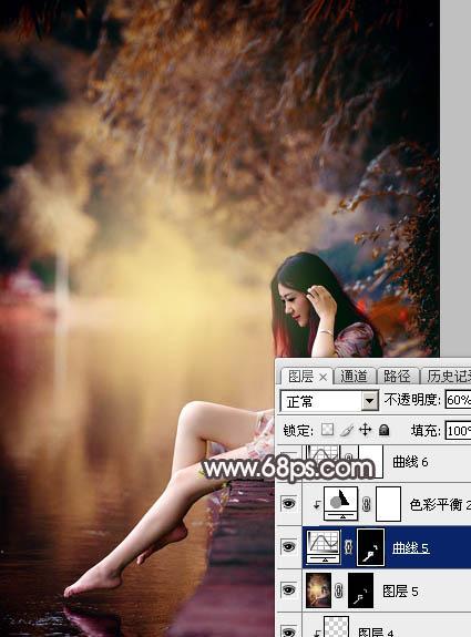 Photoshop给水边的美女加上暗调红褐色37